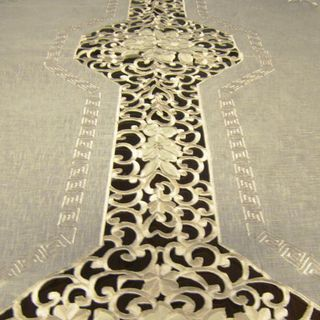 Roman Two tone Embroidered 72x126 inch Formal Tablecloth