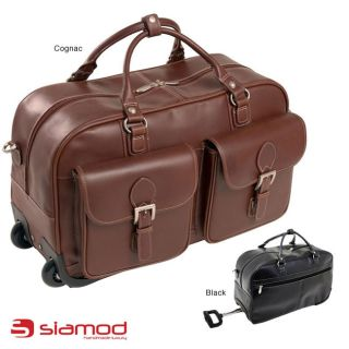 Siamod Discovolo 21 inch Leather Single Handle Wheeled Duffel Bag