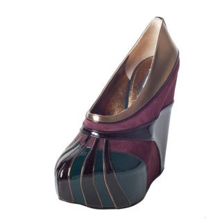 Dolce & Gabbana Womens Purple Multi pattern Trim Wedges