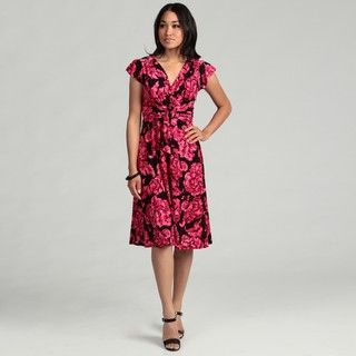 Evan Picone Womens Pink Floral Dress