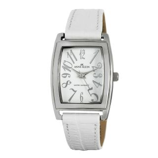 Anne Klein White Leather Strap Watch