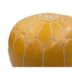 Handmade Casusal Living Yellow Leather Moroccan Ottoman Pouf