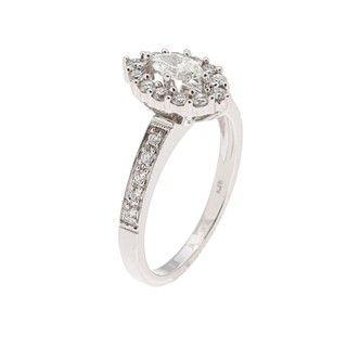 14k White Gold 3/5ct TDW Marquise Diamond Engagement Ring (H I, I1 I2
