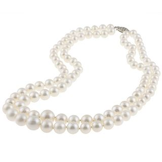 DaVonna Silver White Freshwater Pearl 2 row Graduated Necklace with