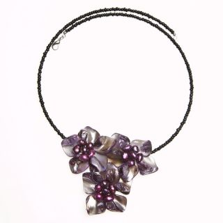 Flourishing Daisies Purple Mother of Pearl Choker (Thailand