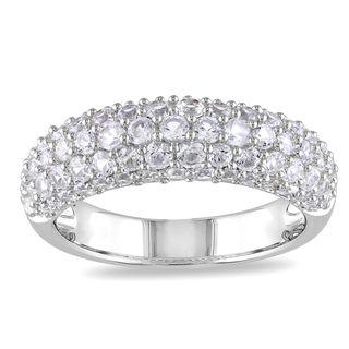 Miadora Sterling Silver White Sapphire Ring