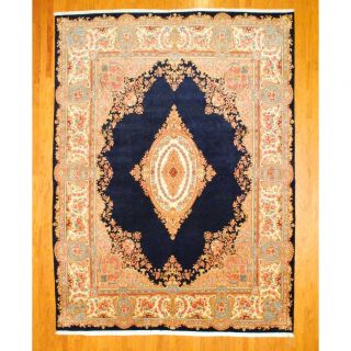 Persian Hand knotted Kirman Navy/ Salmon Wool Rug (911 x 134