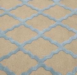 Hand hooked Alexa Moroccan Trellis Light Blue Wool Rug (5 x 8