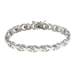 Sterling Silver X and O Diamond Accent Bracelet
