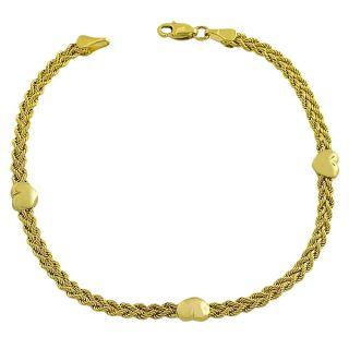 14k Yellow Gold Heart Station Bracelet