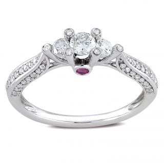 Miadora 14k White Gold 1/2ct TDW Diamond and Pink Sapphire Ring (H I
