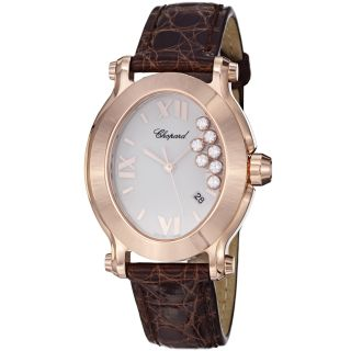 Chopard Womens Happy Sport Oval Rose Gold Leather Watch