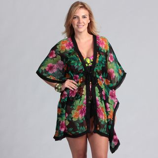 Swim by Chuck Handy Coconut Ring Tankini Swimsuit Kimono Coverup