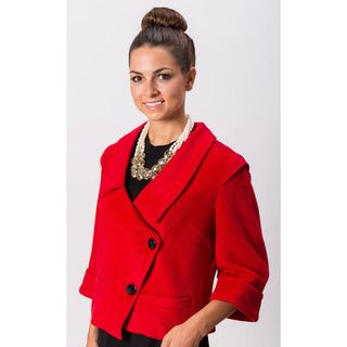 Grace Gallo New York Womens Isabella Red Fitted Blazer