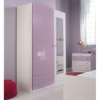 LADYS Armoire 2 portes et miroir   Achat / Vente ARMOIRE DE CHAMBRE