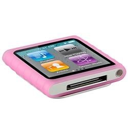 Pink Silicone Case/ Screen Protector for Apple iPod Nano 6th