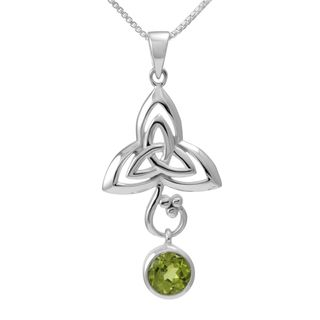Sterling Silver Round Peridot Celtic Knot w/ 18 inch Chain (Thailand