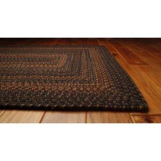 Wellington Black and Green Wool Braided Rug (26 x 6)