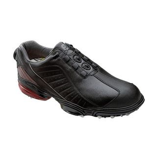 FootJoy Mens FJ Sport Black/ Black/ Crimson Golf Shoes with BOA