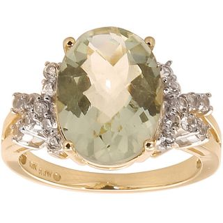 10k Yellow Gold Green Amethyst and White Topaz Ring