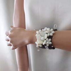 Mother of Pearl and Pearl Floral Blossom Leather Cuff Bracelet