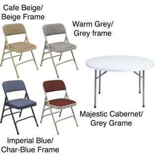 NPS Triple Brace 48 in Round Table and Set of 4 Folding Chairs