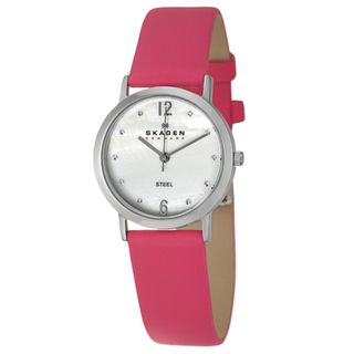 Skagen Womens Pink Leather Stainless Steel Watch