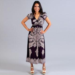 Meetu Magic Womens Purple/ White Maxi Dress