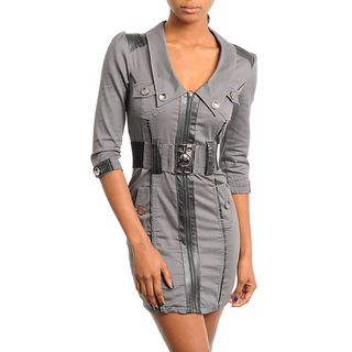 Stanzino Womens Charcoal 3/4 sleeve Zip front Belted Dress
