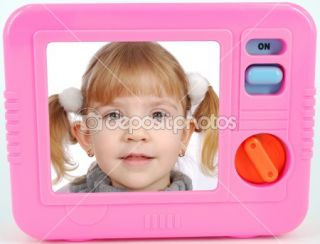 Tv toy with little girl on screen  Stock Photo © goce risteski