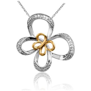 Jessica Simpson Silver and 10K Gold 1/10ct TDW Diamond Butterfly