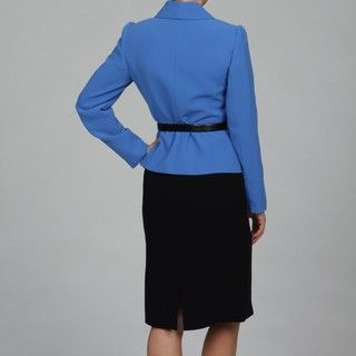 Tahari Womens Blue Element/ Black Skirt Suit