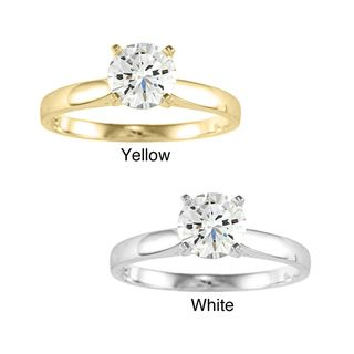 14k Yellow or White Solid Gold 1ct Round Cubic Zirconia Smooth