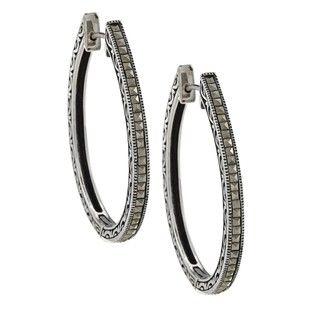 Sterling Silver Marcasite Oval Hoop Earrings