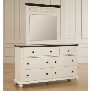 Broyhill Cross Creek Cherry and White 7 drawer Dresser