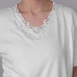 Adi Designs Womens Plus Size Embellished Neck Tee