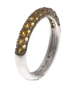 14k White Gold Citrine Fiesta Band Ring