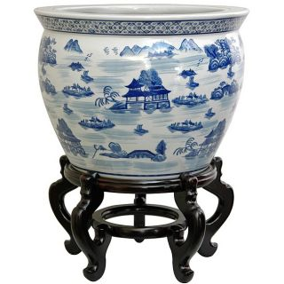 Porcelain 20 inch Blue and White Landscape Fishbowl (China) Today: $