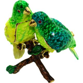 Objet dArt Parakeet Pals Two Birds in a Tree Trinket Box