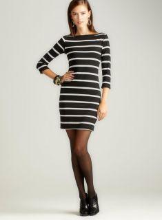 Stanzino Womens Black/ White Striped Cap Sleeve Dress