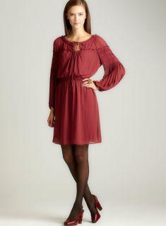 Max Studio Solid U Neck Chiffon Dress