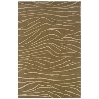 Hand tufted Brown Animal print Wool Rug