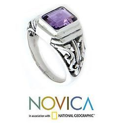 Sterling Silver Mens Wisdom Warrior Amethyst Ring (Indonesia