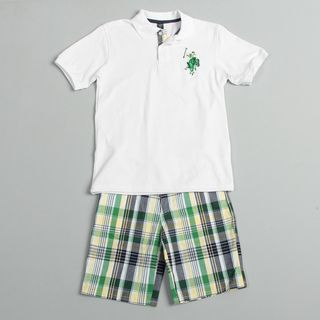 US Polo Association Boys Shirt and Plaid Short Set
