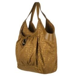 Fendi Chef Zucca Burnt Orange Raffia/Fabric Tote Bag