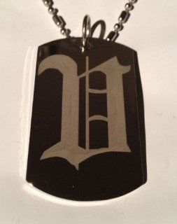 Letter V OLD English Font Initial   Military Dog Tag