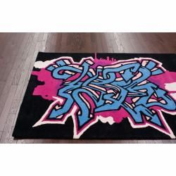 Handmade Alexa Kids Graffiti Black Wool Rug (5 x 7)
