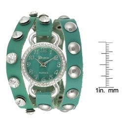 Geneva Platinum Womens Rhinestone Studded Wrap around Watch