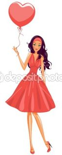 Girl holding red balloon  Stock Vector © ColorValley #1782033