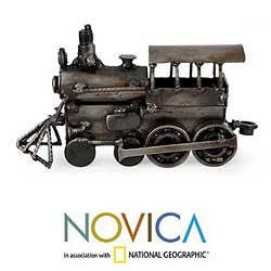 Iron Rustic Steam Engine Sculpture (Mexico)